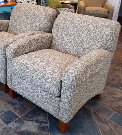 Armchairs with Tight Back in Commercial Grade Ikat Fabric