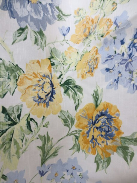Floral fabric cottage blue and yellow