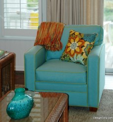 Modern Square Chair in Outdoor fabric with piping