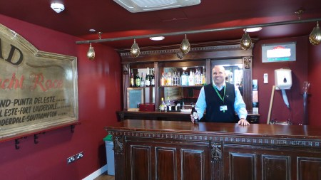 What UK workplace is complete without its own pub. That's Dom, the CEO, behind the bar.