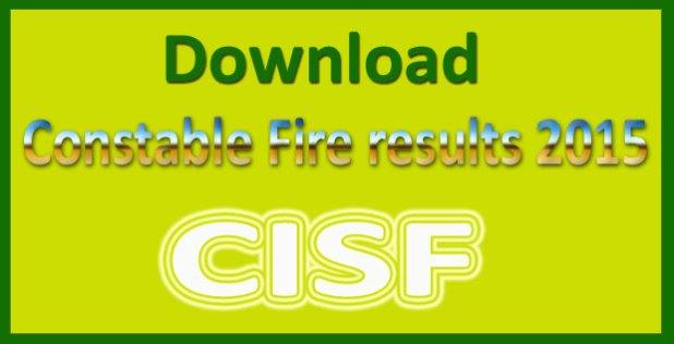 CISF fireman result 2016