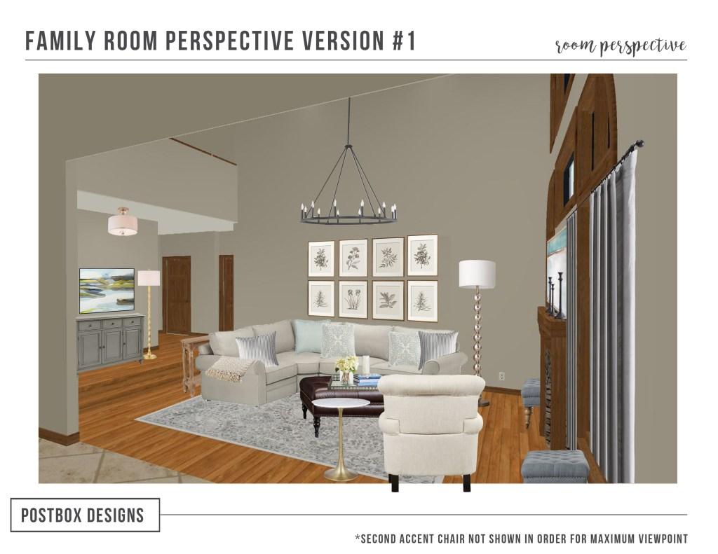 Postbox Designs Interior E-Design Living Room Makeover Mood Board, Pottery Barn design, traditional family room decor