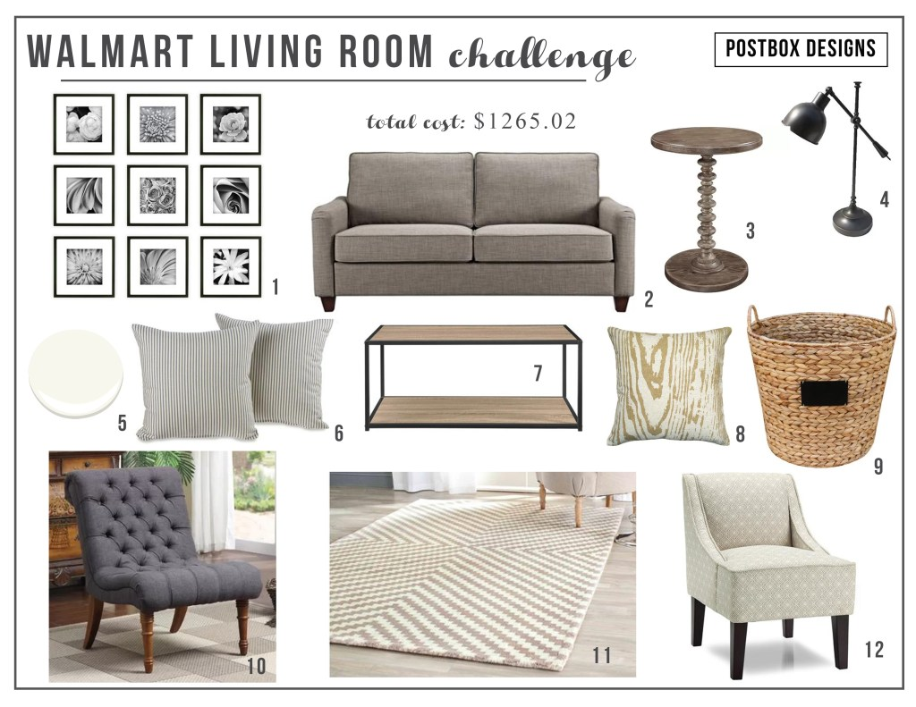 Walmart living room challenge Mood Board