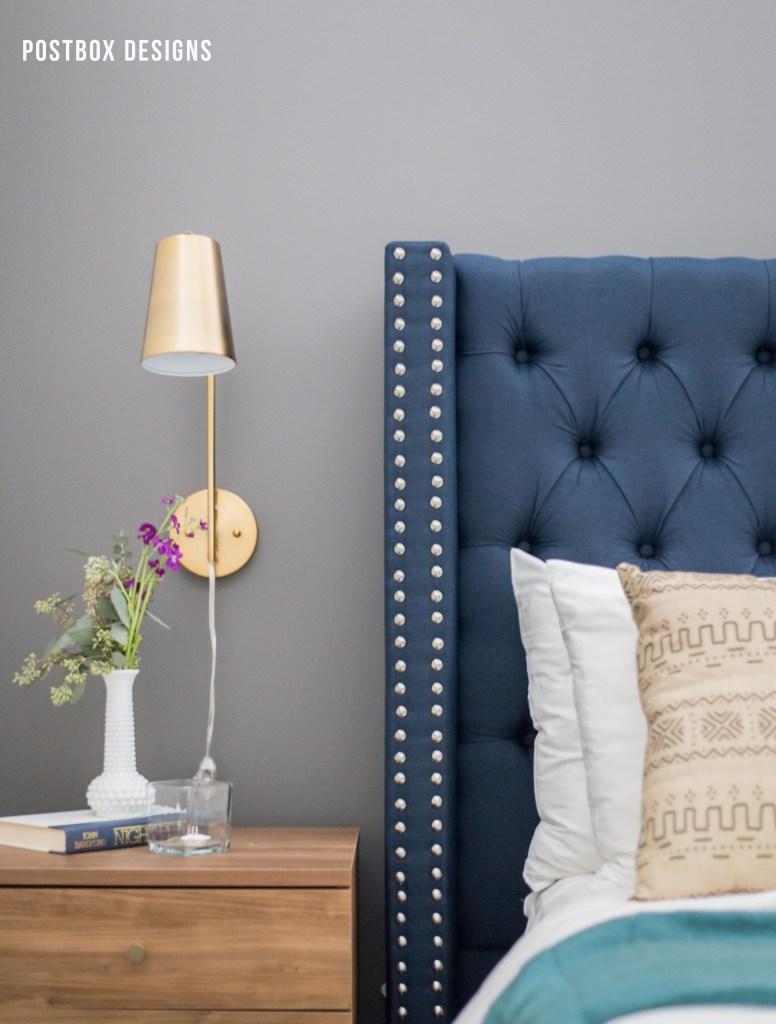 Postbox Designs Interior E-Design Bedroom Makeover, upholstered headboard, boho bedroom decor, gold sconces, modern bedroom decor