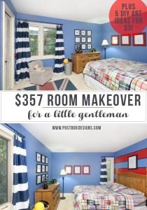 "$357 Boy's ""Little Gentleman"" Bedroom Makeover! (Includes 5 DIY Art Ideas for $3 TOTAL!)"