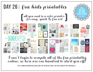30 Day Design Challenge: Day 26 FREE Nursery Printables