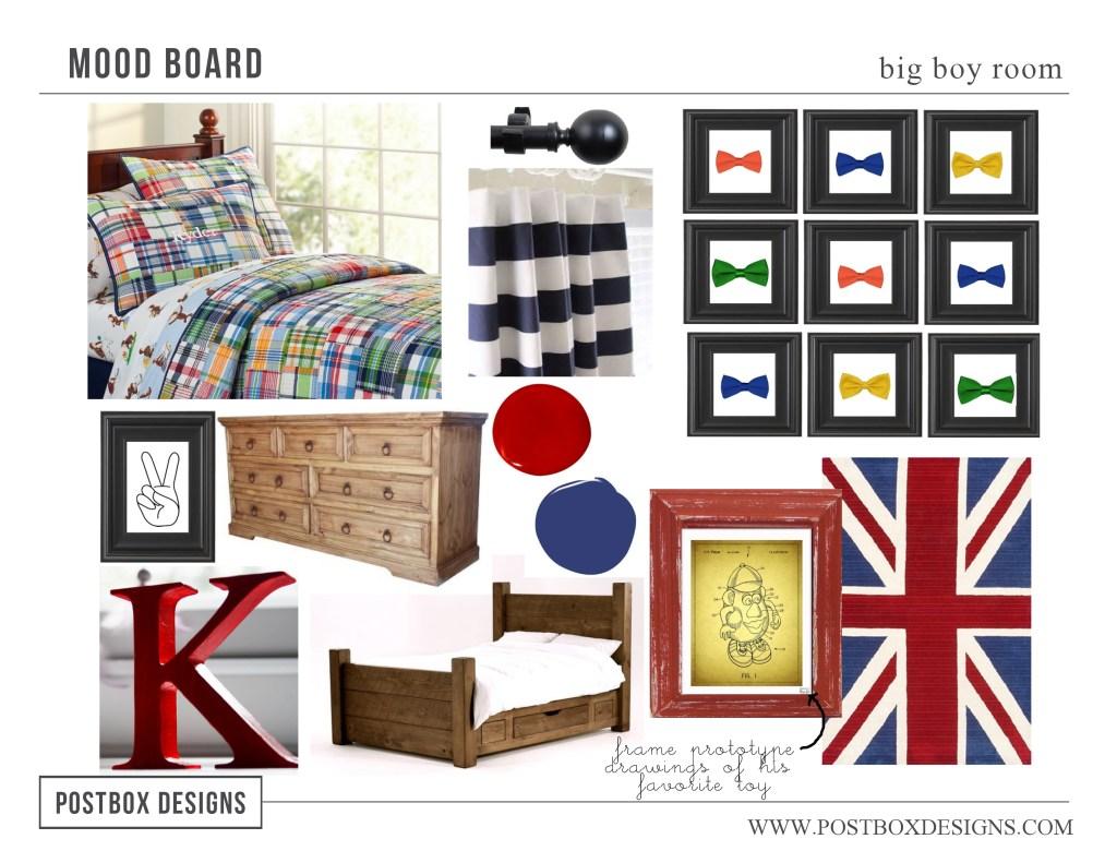 Postbox Designs Mood Board Boy Bedroom