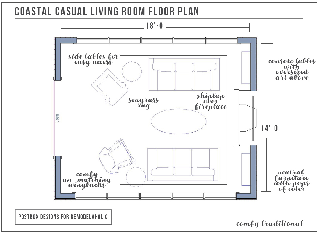 How to furnish a room with no wall space as featured on for Lounge room floor plans
