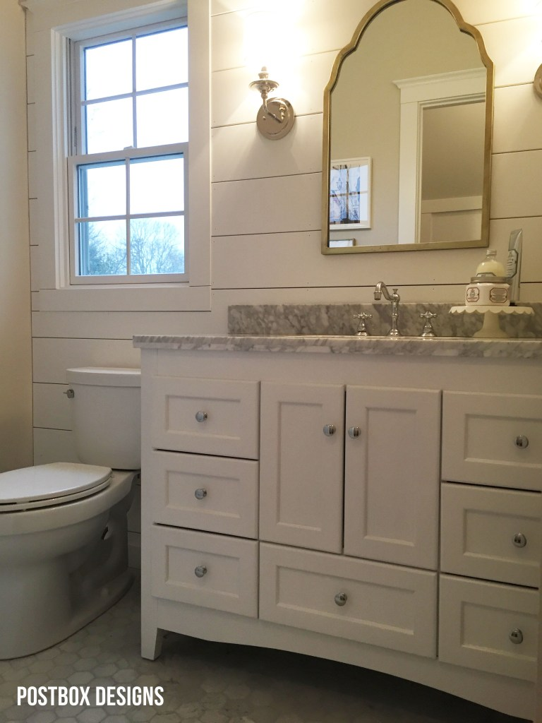 Fixer Upper Bathroom: Builder Basic Bath Makeover by Postbox Designs