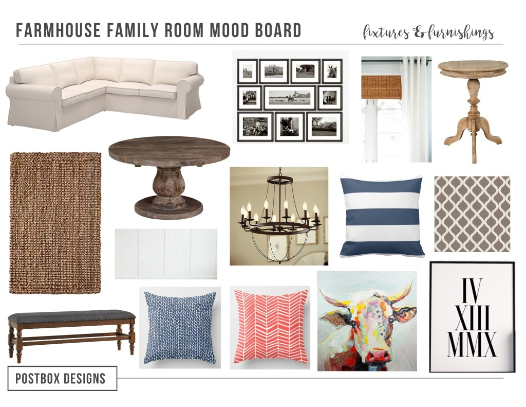 One Room Challenge Family Room Makeover by Postbox Designs E-Design: Creating a Cheery Farmhouses Style Room on a Budget!