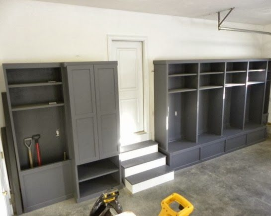 How To Create a Mudroom When You Don't Have One by Postbox Designs, lockers, command center, mudroom ideas, mudroom design, garage mudroom
