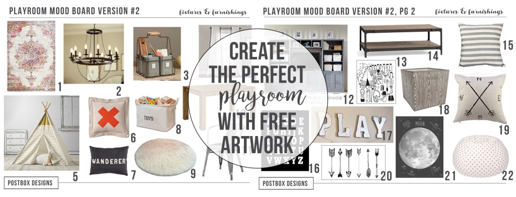 Rustic Playroom Mood Board by Postbox Designs, teepee, ikea, target, craft table, land of nod, playroom design, playroom decor, hang out space, target style, target pillows, pottery barn kids, neutral decor, rustic decor, e-design, free printables