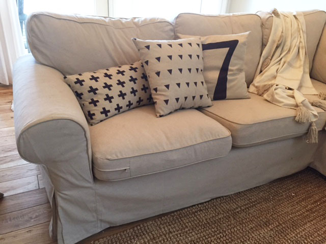 One Room ChallengeFarmhouse Family Room Makeover: Ikea Ektorp Sectional Sofa Review by Postbox Designs