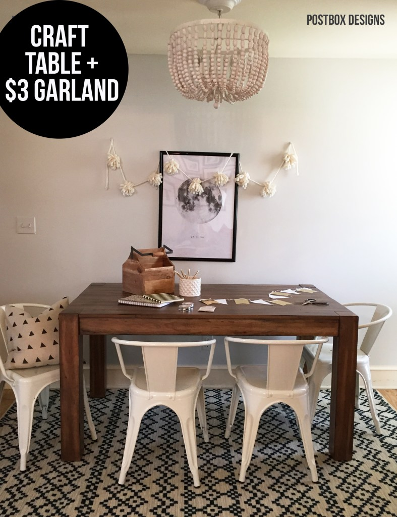 One Room Challenge: Farmhouse Family Room Makeover + Kid's Craft Corner by Postbox Designs + $3 Tassel Garland Tutorial