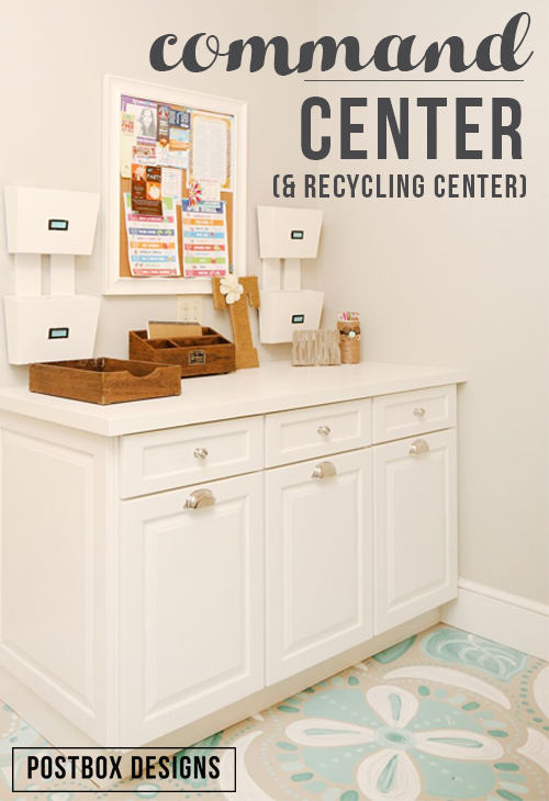 """Postbox Designs 5 Day Design Challenge: Day #2 Create a Mini Command Center. Whether you have a mudroom or not, all you need is 24"""" of countertop space to create an organized drop zone for your entire family. Follow the entire 5 Day Design Challenge at www.postboxdesigns.com"""