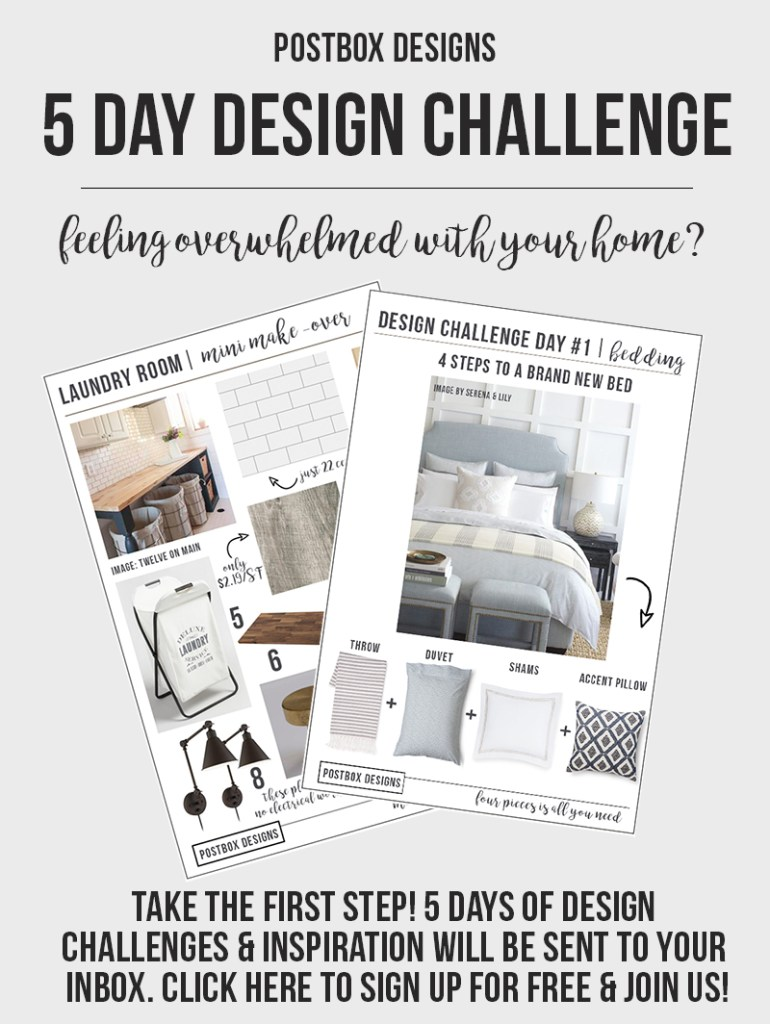Postbox Designs 5 Day Design Challenge: It is 5 Days of Design Ideas, Tips, Makeover, and Freebies to freshen up your home. Get a FREE Interior Designer in Your Inbox for a Week! Sign up now at www.postboxdesigns.com
