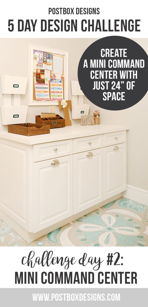 """Postbox Designs 5 Day Design Challenge: Day #2 Create a Mini Command Center with just 24"""" of space. Create a better organized home in just a few minutes!"""