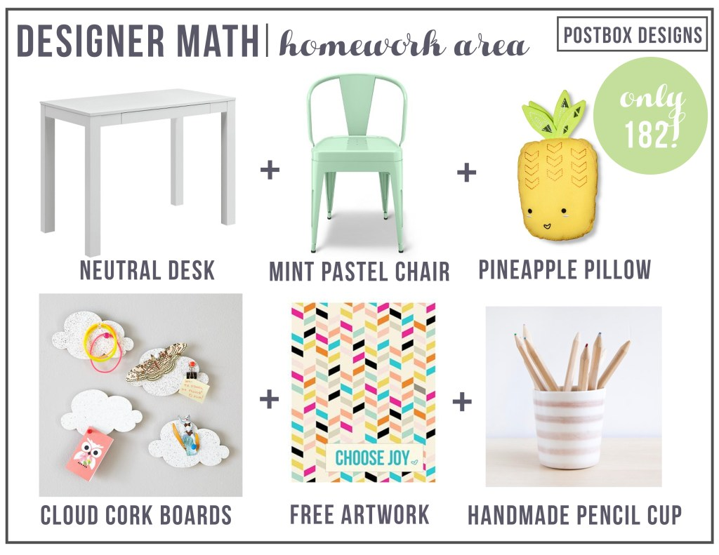 Postbox Designs 5 Day Design Challenge: Day #4: Create a Mini Homework Center (Or Grown-Up Work Station) + FREE Desk and Chair Round Up Mood Board! Create a flexible homework station on a budget!