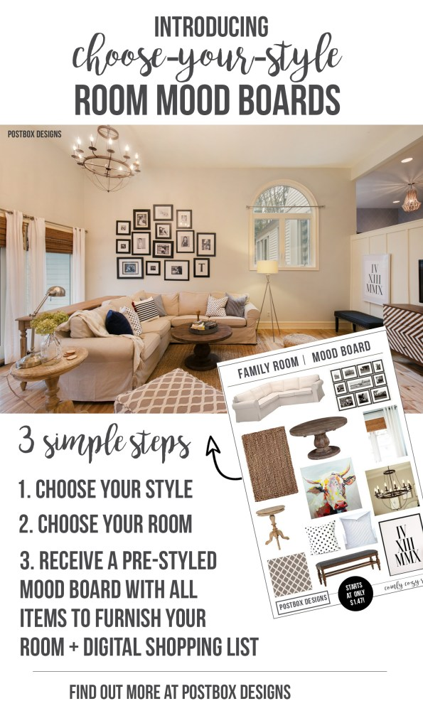 """Introducing Postbox Designs """"Choose Your Style"""" Pre-Designed Mood Boards by Postbox Designs Interior E-Design. All of the hand-selected curated items as my custom designs, but at a fraction of the cost."""