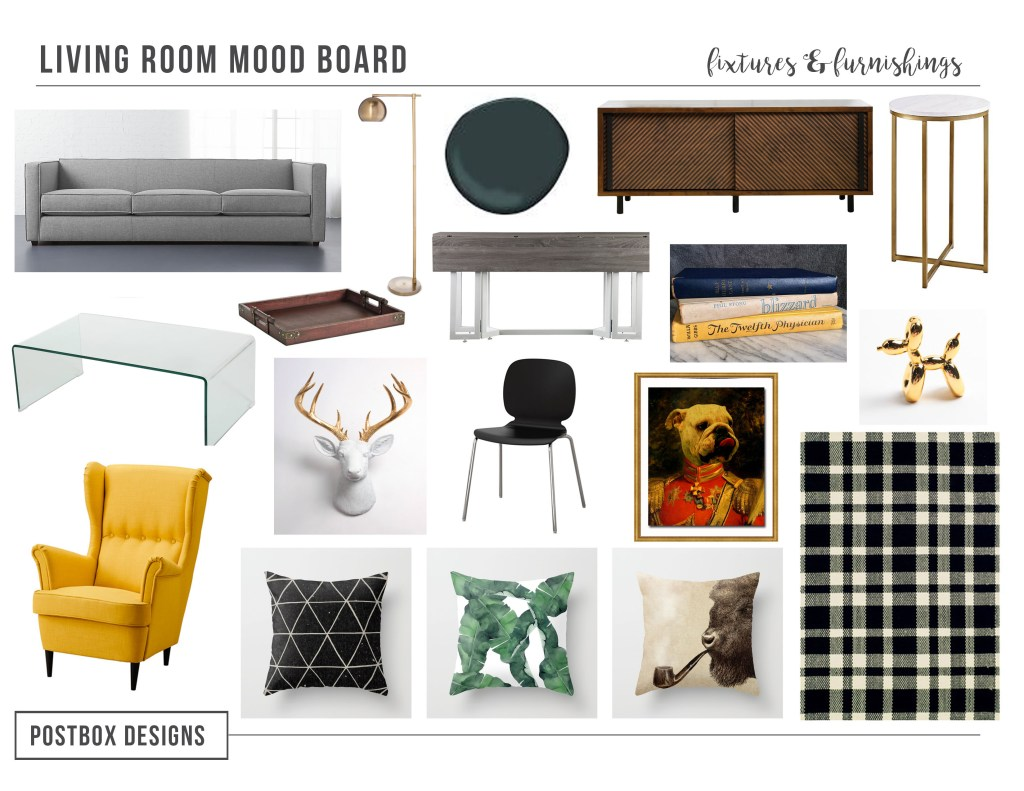Modern Masculine Style on a Budget-How to Get the Look! Modern Living Room Mood Board by Postbox Designs E-Design