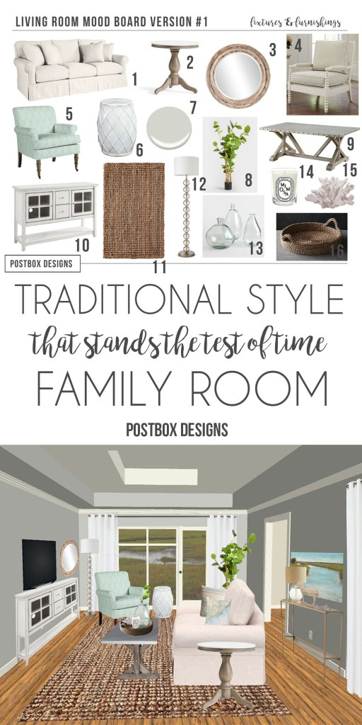 Mix High and Low to Decorate a Family Room To Stand the Test of Time , by Postbox Designs E-Design