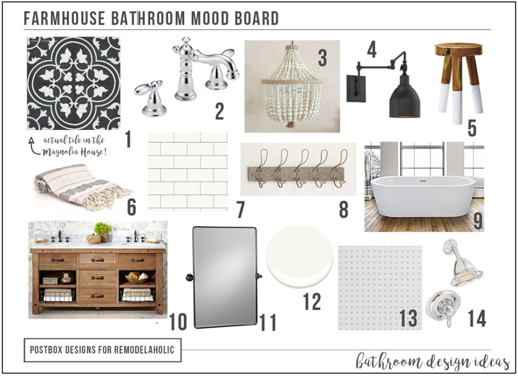 Create A Timeless Farmhouse Bathroom Makeover Free Mood Board - Fixer upper bathroom remodels