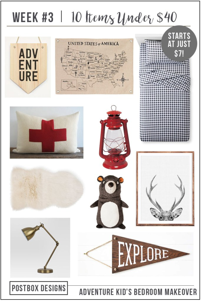 Postbox Designs: 10 Items Under $40 for Your Kid's Bedroom Decor, One Room Challenge Boy's Woodland Bedroom Makeover