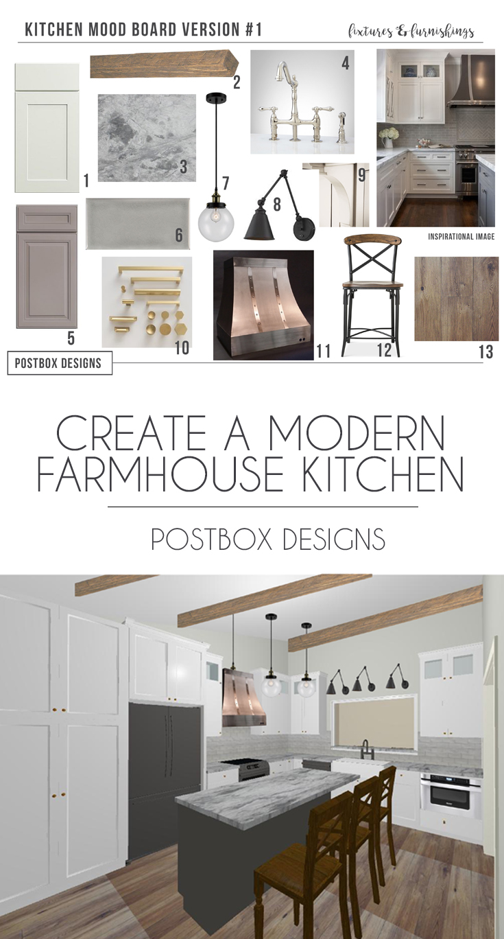 Postbox Designs Interior E Design: Farmhouse Kitchen Mood Board, Fixer  Upper Style Kitchen