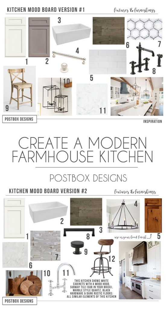 Postbox Designs Interior E-Design: Farmhouse Kitchen Mood Board, Fixer Upper Style Kitchen Design