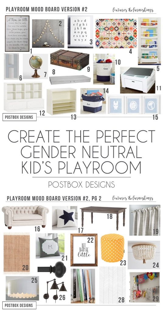 How to Design the Perfect Playroom: 2 Ways by Postbox Designs Interior E-Design, Colorful Playroom Decor, Land of Nod Playroom, Pottery Barn Kids Playroom Decor