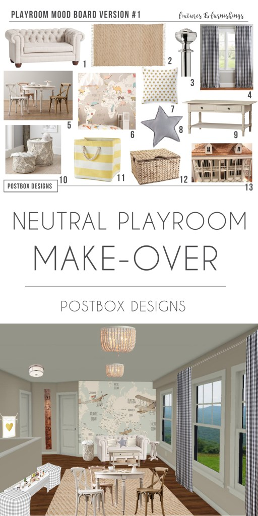 How to Design the Perfect Playroom: 2 Ways by PostboxDesigns Interior E-Design, Neutral Playroom Decor