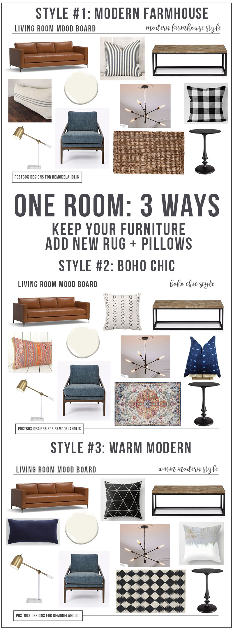 Create 3 Different Looks With Only 7 Pieces Of Furniture, By Postbox  Designs Interior E Part 43
