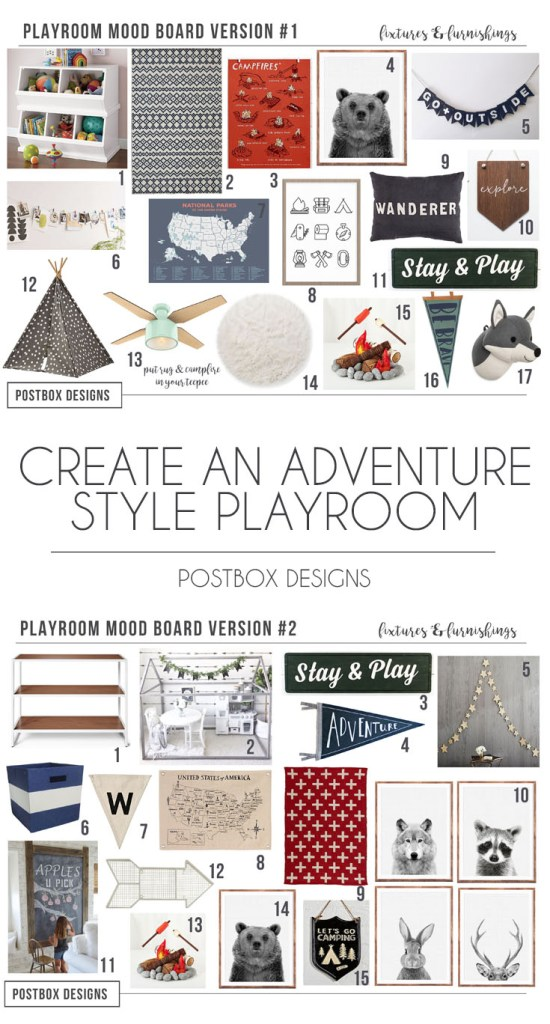 Postbox Designs E-Design: Adventure Playroom Design, Camping Playroom Decor, Land of Nod Playroom Makeover
