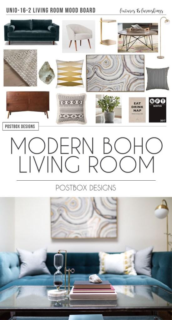 Postbox Designs E-Design: Modern Boho Living Room Makeover, Modern Family Room Decor
