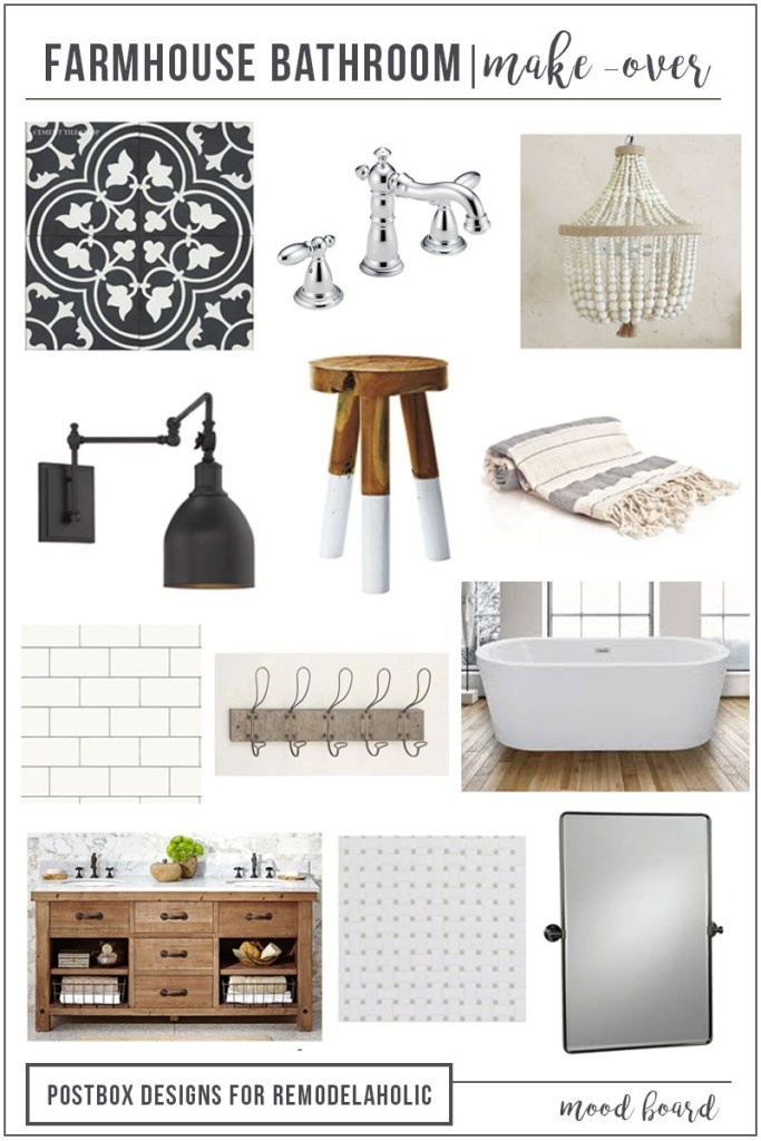 Postbox Designs E-Design: Farmhouse Bathroom Design, Fixer Upper Bathroom, for Remodelaholic