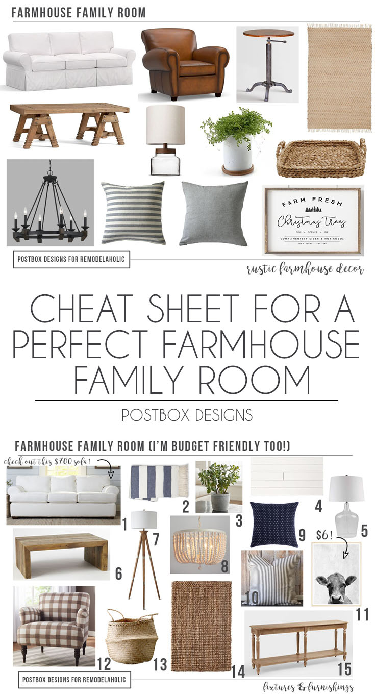 Postbox Designs E Design: Cheat Sheet To The Perfect Farmhouse Family Room  For Remodelaholic