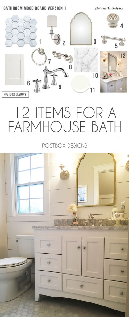 Postbox Designs E-Design: Turn Your Builder Basic Bathroom Into a Dream Farmhouse Bathroom, farmhouse bathroom design