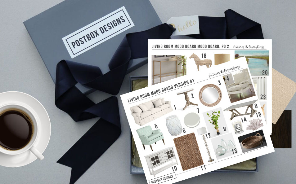 Postbox Designs Interior E-Design: Get the Look: $1150 Farmhouse Living Room Design Makeover on a Budget, Online Interior Design, Farmhouse Family Room Design