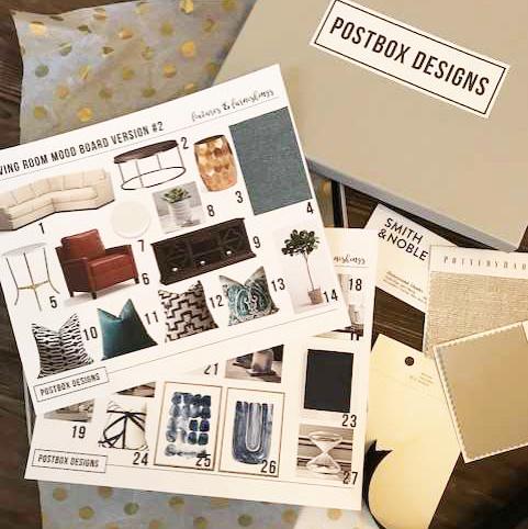 Postbox Designs E-Design: Traditional Living Room Design Makeover, Neutral Family Room with pops of Navy, Online Interior Design