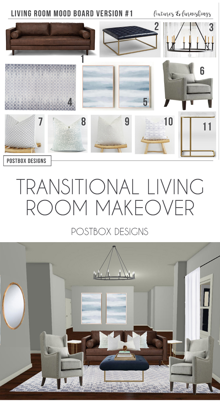 transitional living room design. Postbox Designs Interior E-Design: Transitional Living Room Design, Neutral Family Makeover Design