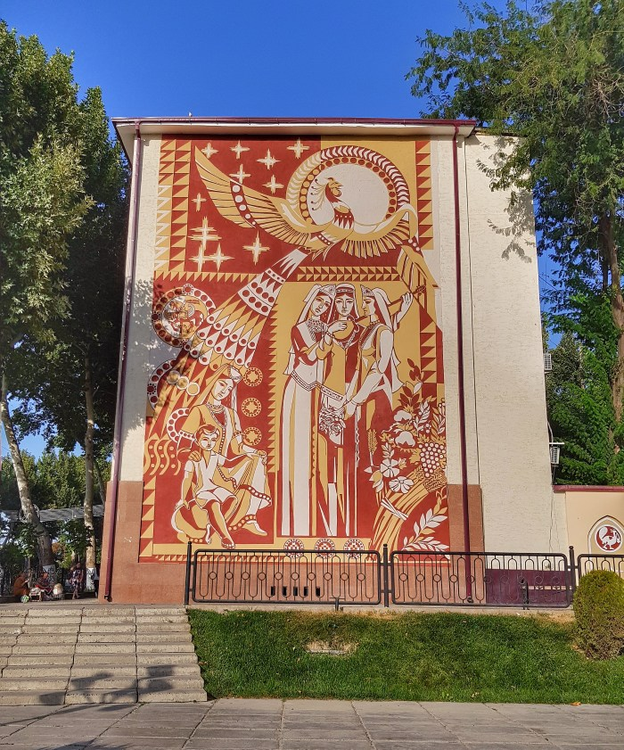 Soviet mural on Registan Street Photo by Freda Hughes