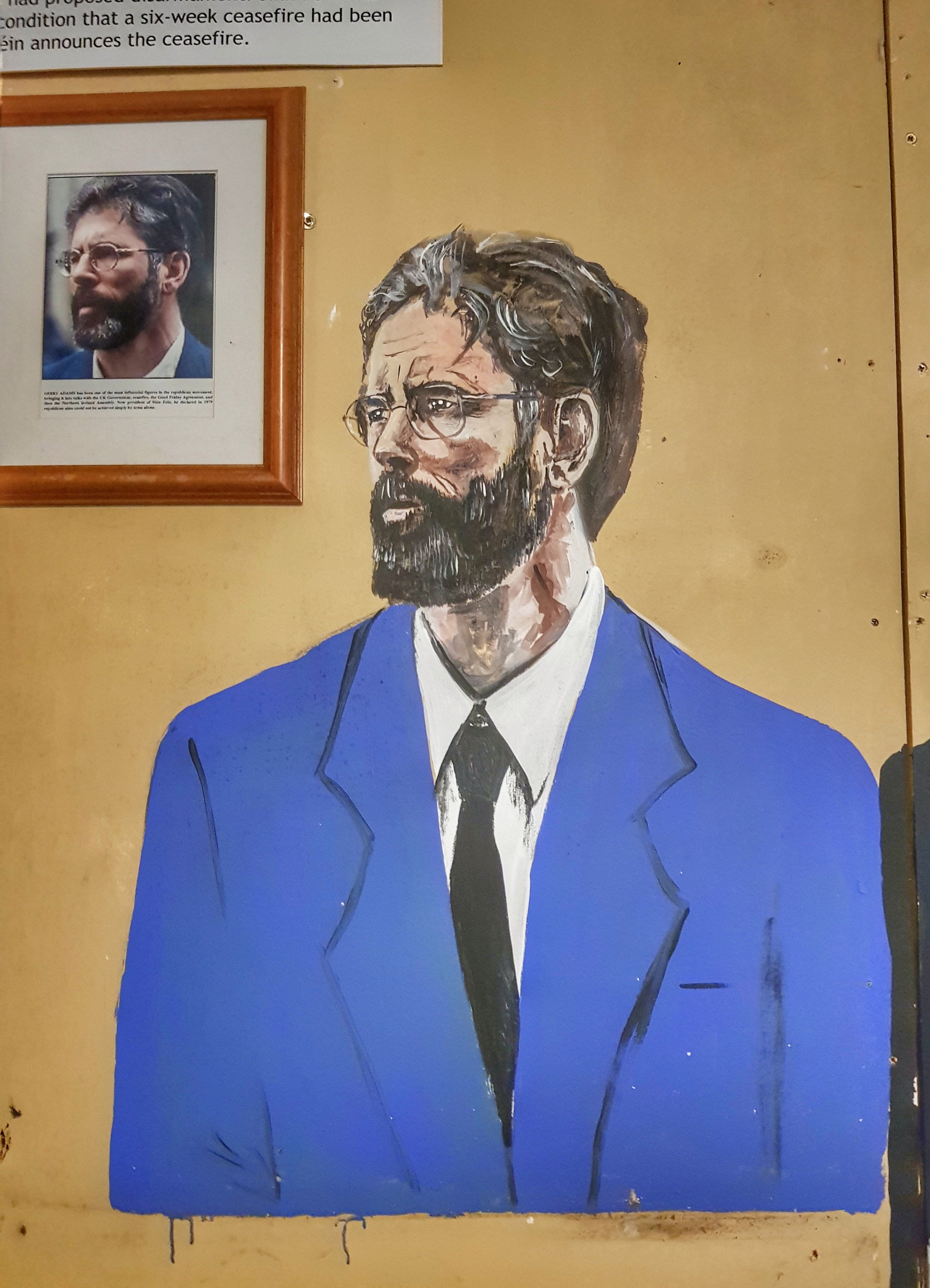 Protrait of Gerry Adams in the safehouse at Doagh Famine Village