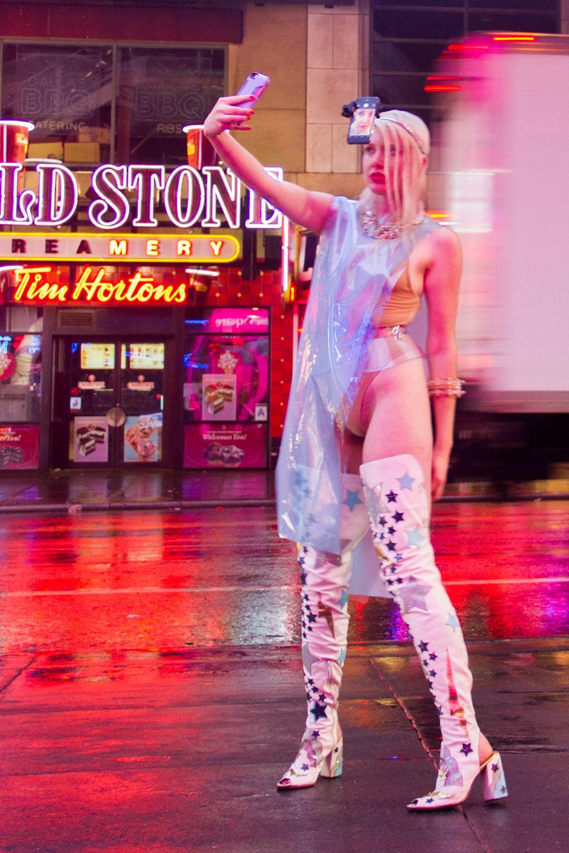 Dress: Chromat / Necklace: We Who Prey / Bracelet: I Still Love You NYC / Bodysuit: American Apparel / Belt: Zana Bayne / Boots: MaryMe-JimmyPaul