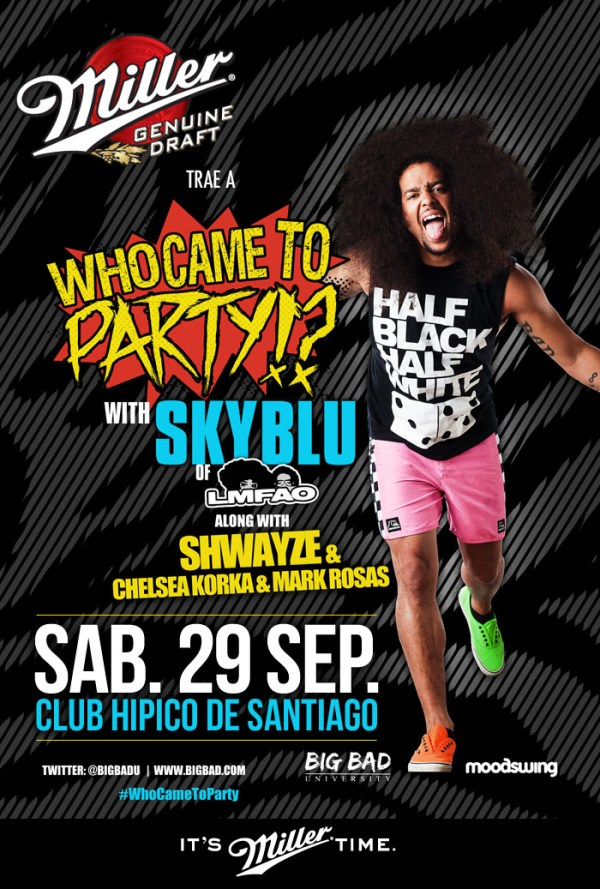 lmfao chile 600x889 Sky Blu of LMFAO en Chile (Ganadores)