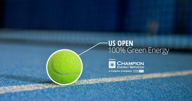 A green tennis ball on a blue court illustrates Champion Energy and the USTA's commitment to environmental responsibility at the 2016 US Open Tennis Championships