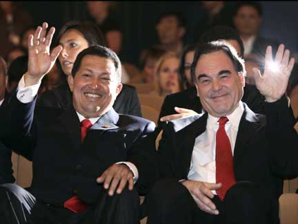 Hugo Chavez and Oliver Stone, hard to say which is more disgusting