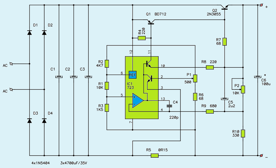 1V27V 3A Variable DC Power Supply Circuit    Diagram     Power Supply Circuits