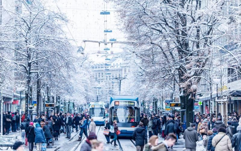 Швейцария Цюрих фото зима