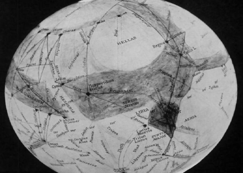 Первая карта Марса. Опубликована в сентябре 1955 года. Фотоисточник