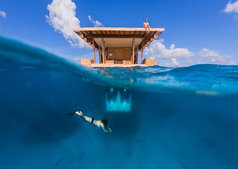 необычные отели, отель под водой в Занзибаре